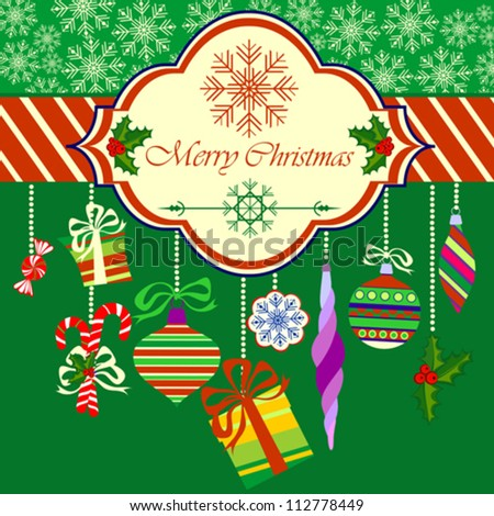 Merry Christmas Greeting Card with Christmas Objects on Green Background, Vector Illustration
