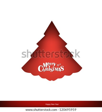 Merry Christmas greeting card with Christmas tree, vector illustration. - stock vector