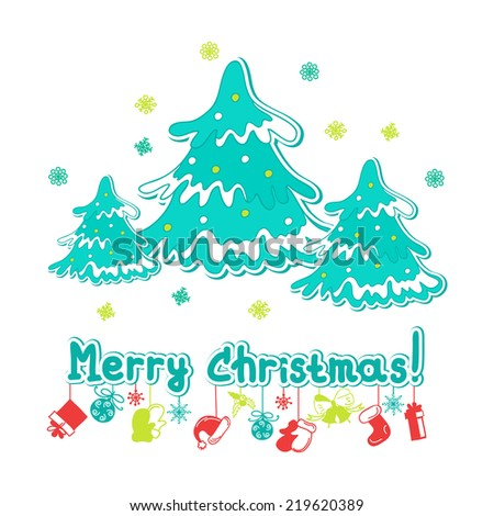 Merry Christmas greeting card with Christmas trees - stock vector