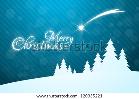 Merry Christmas Greeting Card with Christmas Trees and falling Star - stock vector