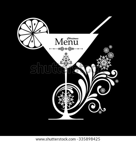 Merry Christmas greeting card with cocktail glass. Drink Menu. Vector illustration  - stock vector