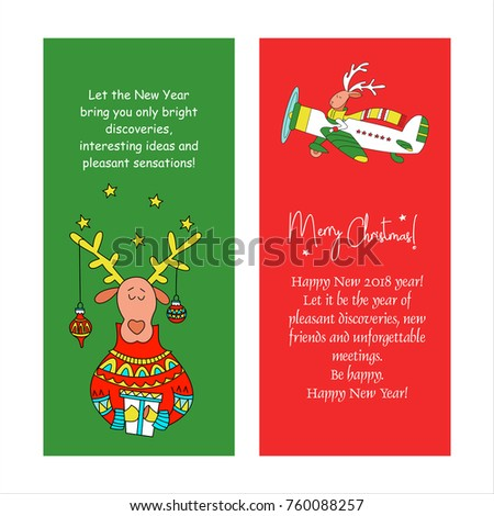 Merry christmas greeting card congratulations your stock vector merry christmas greeting card with congratulations to your family and friends reindeer with gift m4hsunfo