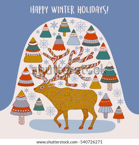 Merry Christmas greeting card with cute xmas deer, retro design. Vector.