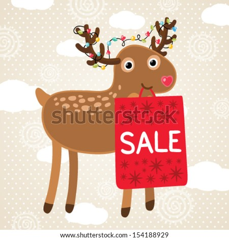 Merry Christmas greeting card with deer and sale bag. Holiday vector illustration - stock vector