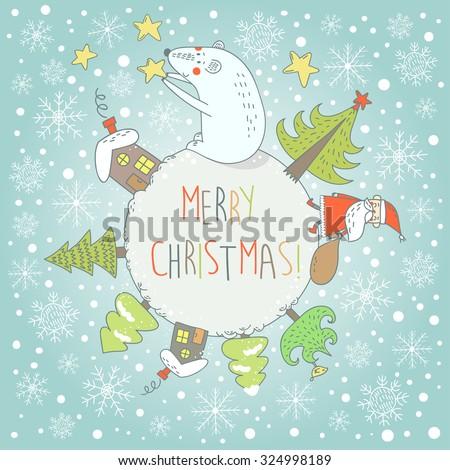 Merry Christmas greeting card with funny cartoon polar bear, Santa and bird. Vector illustration. - stock vector