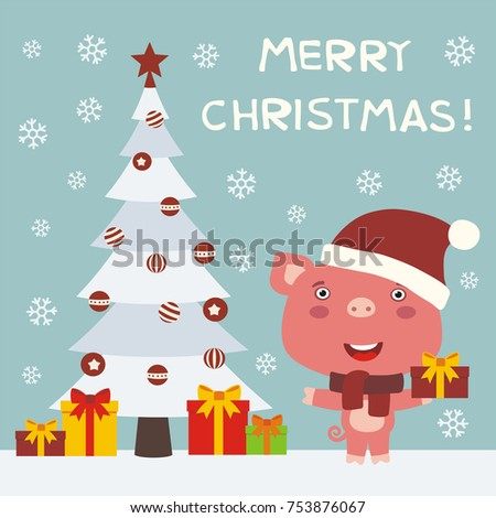 Merry christmas greeting card funny pig stock vector 2018 merry christmas greeting card with funny pig with gifts m4hsunfo