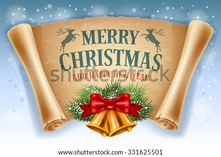 Merry Christmas greeting card with golden jingle bells and old scroll paper. Vector illustration. - stock vector
