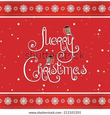 Merry christmas greeting card handwritten words stock vector merry christmas greeting card with handwritten words and decorative elements m4hsunfo