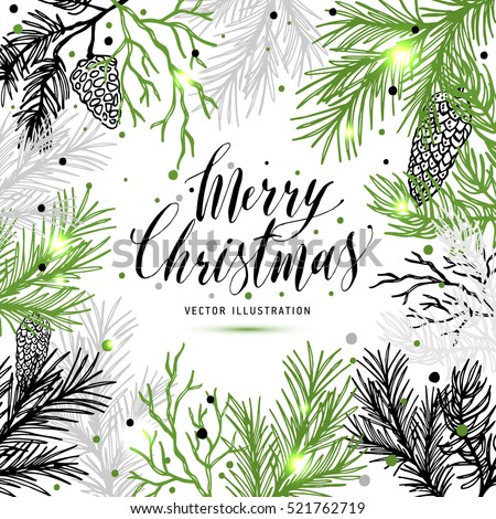 Merry Christmas greeting card with new years tree and calligraphic sigh Merry Christmas. Vector holiday illustration.