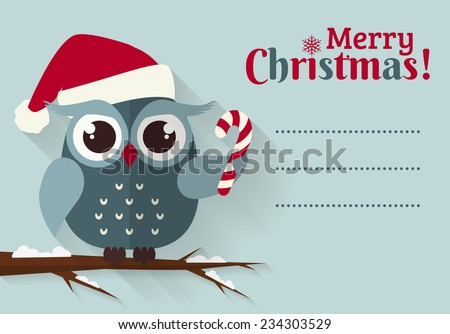 Merry Christmas! Greeting card with place for text. Flat owl with candy cane and santa hat. Vector illustration. - stock vector