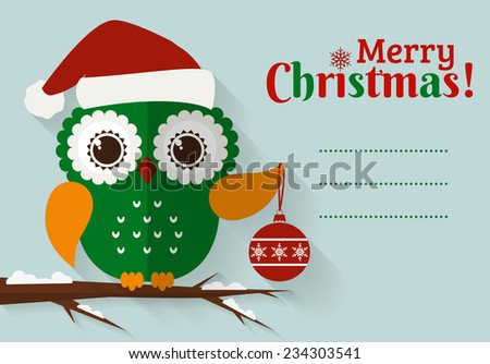 Merry Christmas! Greeting card with place for text. Flat owl with Christmas ball and Santa hat. Vector illustration. - stock vector