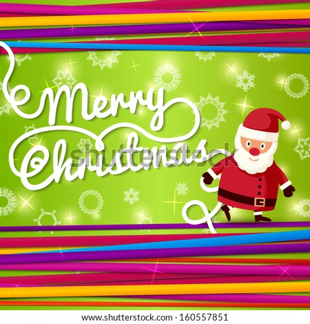 Merry Christmas greeting card with place for your text, and hand written Merry Christmas lettering. On bright background with colorful laces with Santa Claus. Vector.  - stock vector