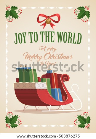 Merry Christmas greeting card with red sleigh full of presents.