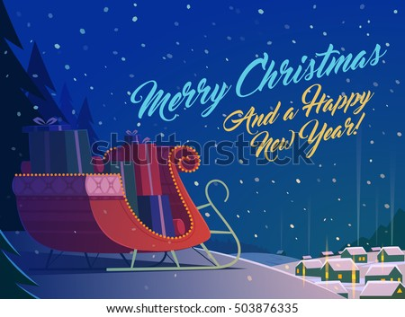 Merry Christmas greeting card with red sleigh full of presents and small village at night.