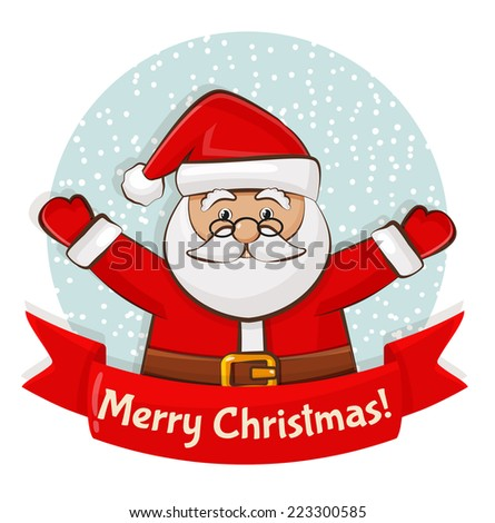 Merry Christmas! Greeting card with Santa Claus. Vector illustration. - stock vector