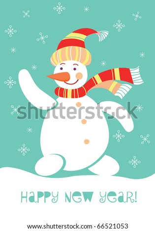 Merry Christmas greeting card with snowman