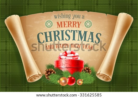 Merry Christmas greeting card with spruce branches, red gift box and old scroll paper on green tartan background. Vector illustration. - stock vector
