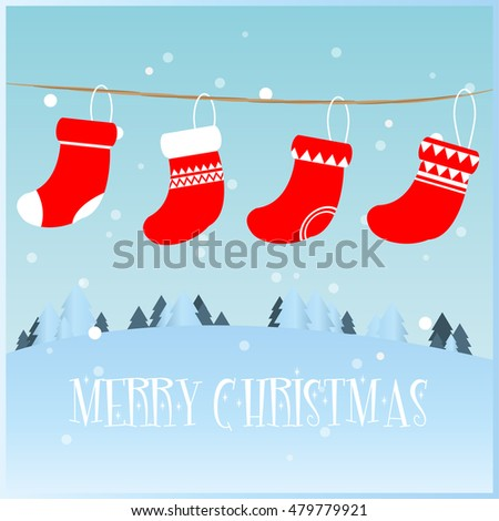 Merry Christmas greeting card with stockings vector illustration