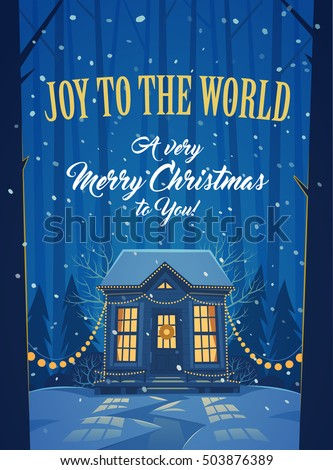 Merry Christmas greeting card with wood cabin covered by snow.