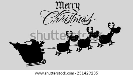 Merry Christmas Greeting With Santa Claus In Flight With His Reindeer And Sleigh Silhouettes. Vector Illustration Isolated On Gray Background - stock vector
