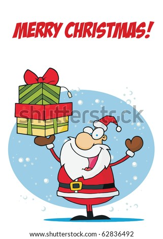 Merry Christmas Greeting With Santa Holding Up A Stack Of Presents In The Snow - stock vector