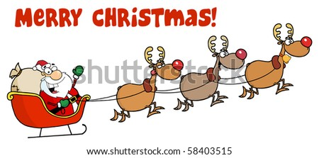 Merry Christmas Greeting With Santa Sleigh And Reindeer - stock vector