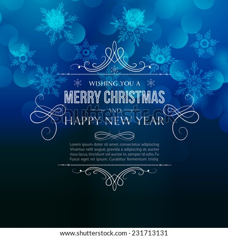 Merry Christmas greeting with vintage text and frame - stock vector