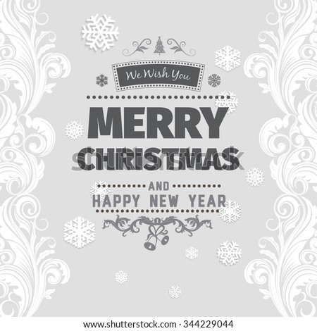 Merry christmas greetings black white card stock vector 344229044 merry christmas greetings black and white card with black letters on light gray background with snowflake m4hsunfo