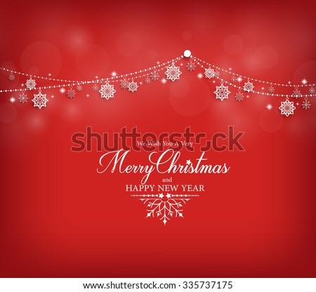 Merry Christmas Greetings Card Design with Snow Flakes Hanging in Red Background. Vector Illustration  - stock vector