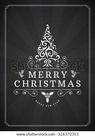 Merry Christmas Greetings Card or Poster Design. Blackboard vector background and retro chalk typography holidays wishes. - stock vector