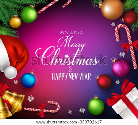 Merry christmas greetings realistic decorations objects stock vector merry christmas greetings in realistic decorations and objects in colorful background vector illustration m4hsunfo