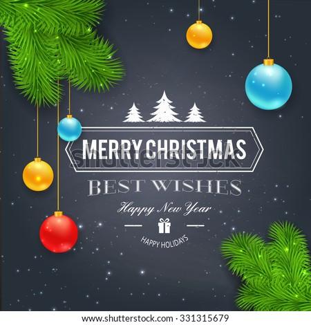 Merry Christmas greetings logo on chalkboard. Chrictmas design made in vector - stock vector