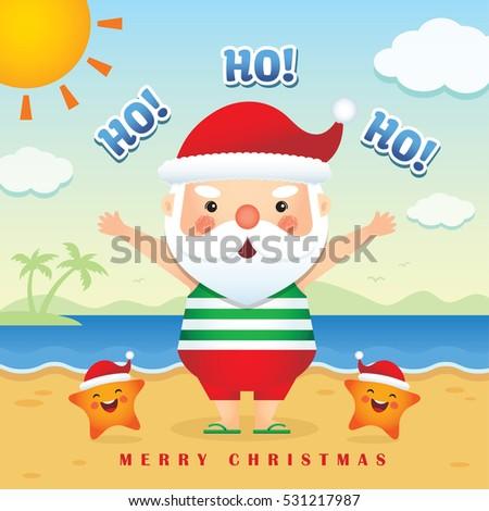 Merry christmas greetings cute cartoon santa stock photo photo merry christmas greetings of cute cartoon santa claus wearing tank top short pants slipper m4hsunfo