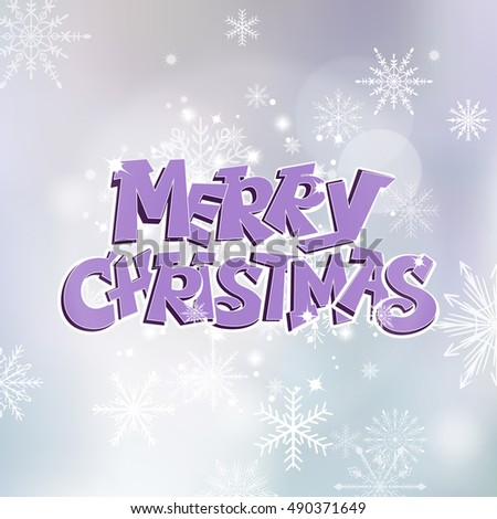 Merry Christmas hand drawn lettering text vector illustration. Holiday xmas poster or postcard.
