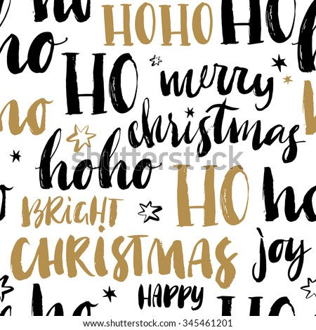 Merry Christmas hand drawn seamless background with calligraphy. Handwritten modern brush lettering. Dry brush and rough edges ink doodle illustration. Abstract vector pattern. - stock vector