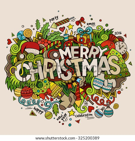 Merry Christmas hand lettering and doodles elements background. Vector colorful illustration - stock vector