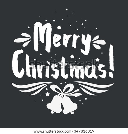 Merry Christmas. Hand lettering. For invitation and greeting card, prints and posters. Hand drawn typographic design. - stock vector