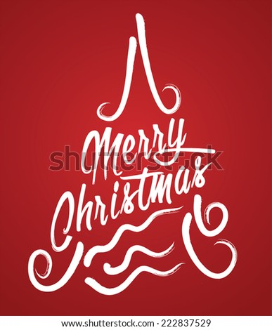 Merry Christmas Hand lettering Greeting Card. Calligraphic.  - stock vector