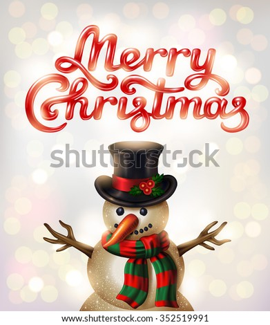 Merry Christmas hand lettering signature and a Snowman character on beautiful bokeh background - vector illustration.