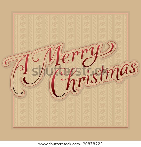 merry christmas hand lettering (vector) - stock vector