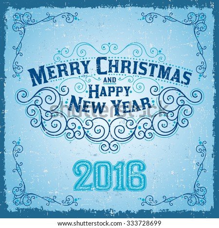 MERRY CHRISTMAS hand lettering 2016, vintage vector Illustration - stock vector