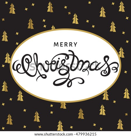 Merry Christmas hand lettering with golden  spruces on black  background. Vector greeting  card.