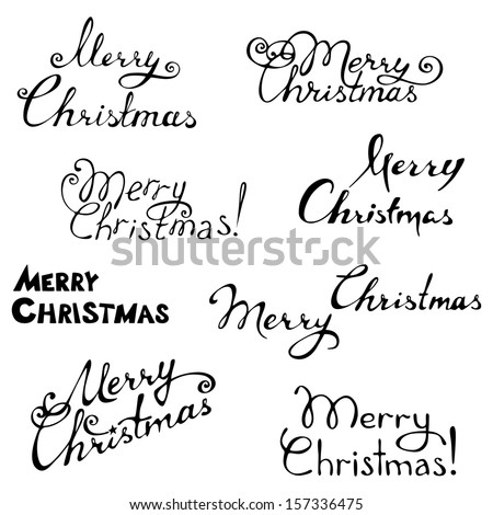 Merry christmas. Hand-written text. Vector illustration for your design. Christmas template. - stock vector