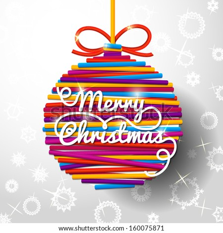 Merry Christmas handwritten swirl lettering greeting card on bright lace ball, on paper background with snowflakes . With place for your text.  - stock vector
