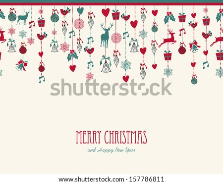 Merry Christmas hanging decoration elements baubles composition. Vector file organized in layers for easy editing. - stock vector
