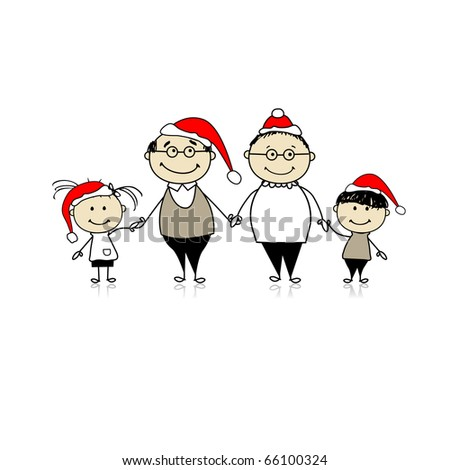 Merry christmas. Happy family together - grandparents and grandchildren - stock vector