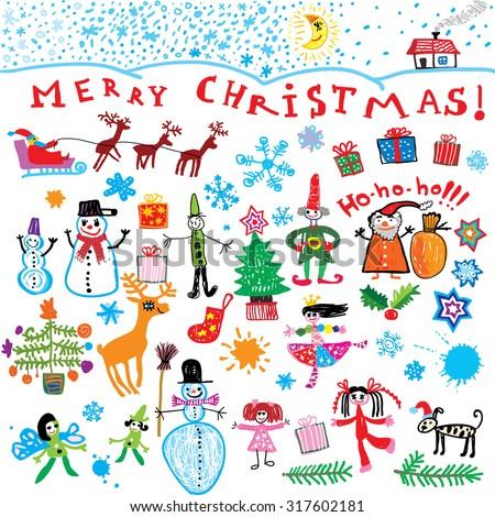 Merry Christmas! happy kids  - stock vector