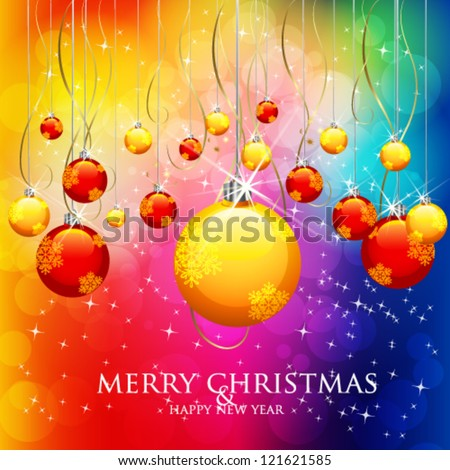 Merry Christmas & Happy New Year - stock vector
