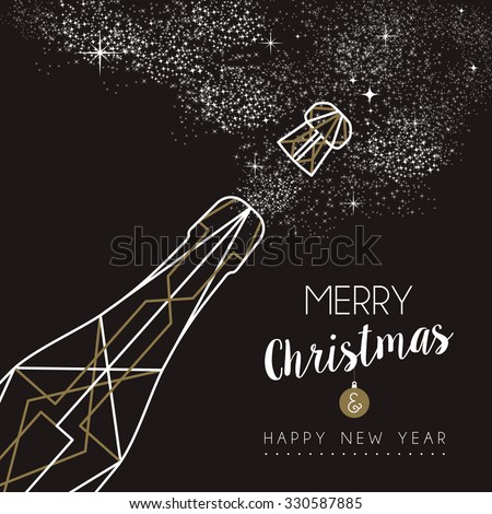 Merry christmas happy new year champagne bottle design in art deco outline style. Ideal for xmas greeting card or holiday poster. EPS10 vector. - stock vector
