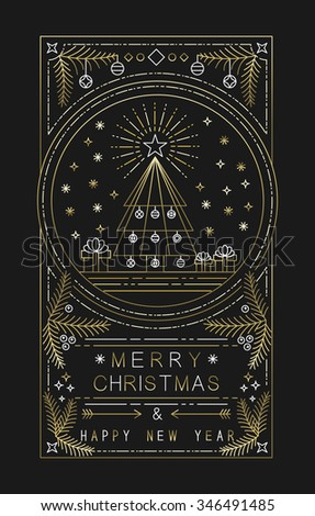 Merry Christmas Happy New Year design with Xmas tree, gifts and decoration in simple gold outline style. Ideal for holiday greeting card, poster or web. EPS10 vector.    - stock vector